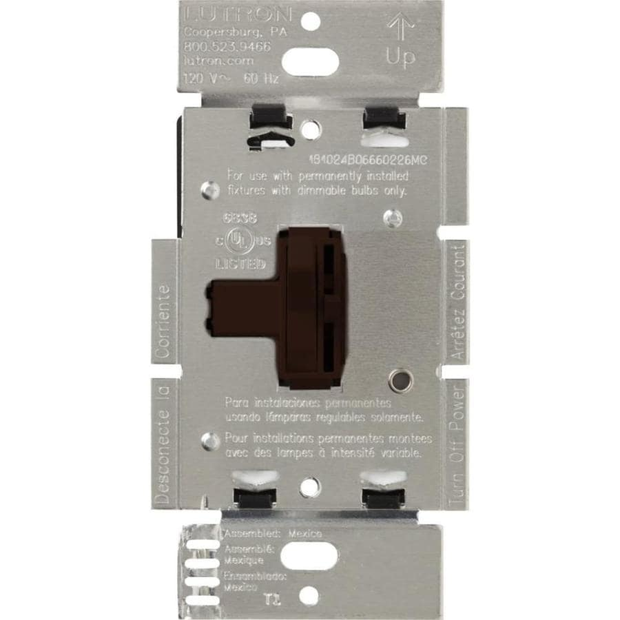 Lutron Toggler 600-Watt Single Pole Brown Indoor Toggle Dimmer