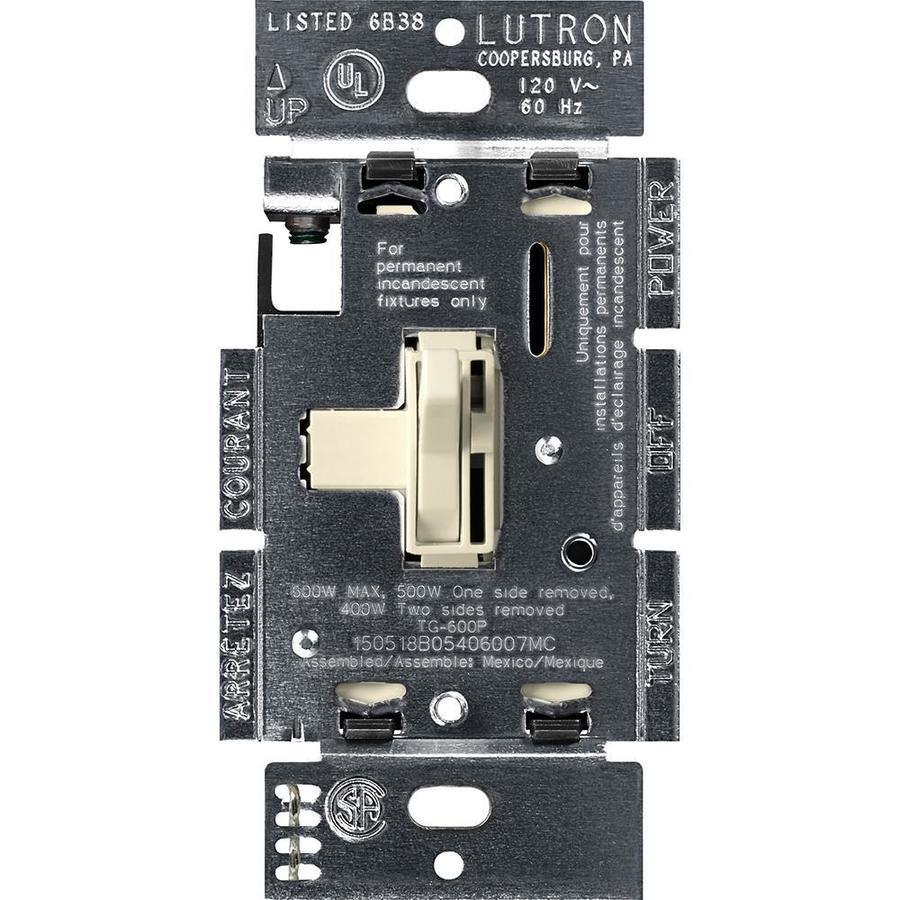 Lutron Toggler 600-watt Single Pole Light Almond Toggle Indoor Dimmer