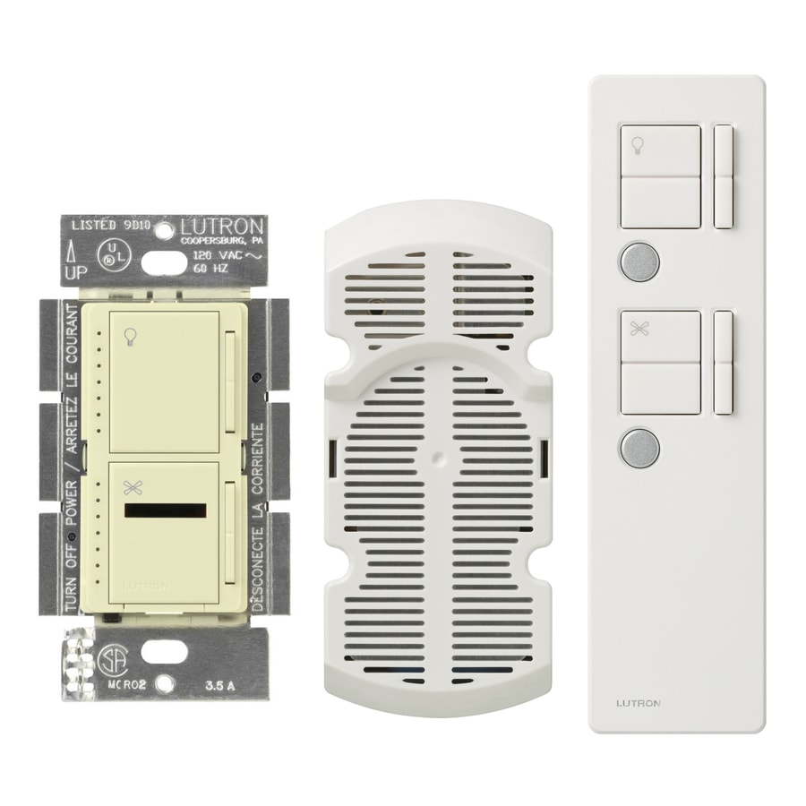 Lutron Maestro IR 300-Watt Single Pole Wireless Almond Indoor Remote Control Combination Dimmer and Fan Control