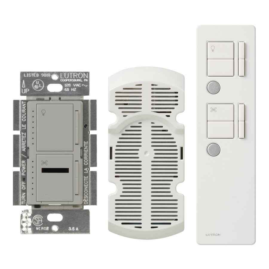 Lutron Maestro IR 300-watt Single Pole Wireless Gray Remote Control Indoor Combination Dimmer And Fan Control