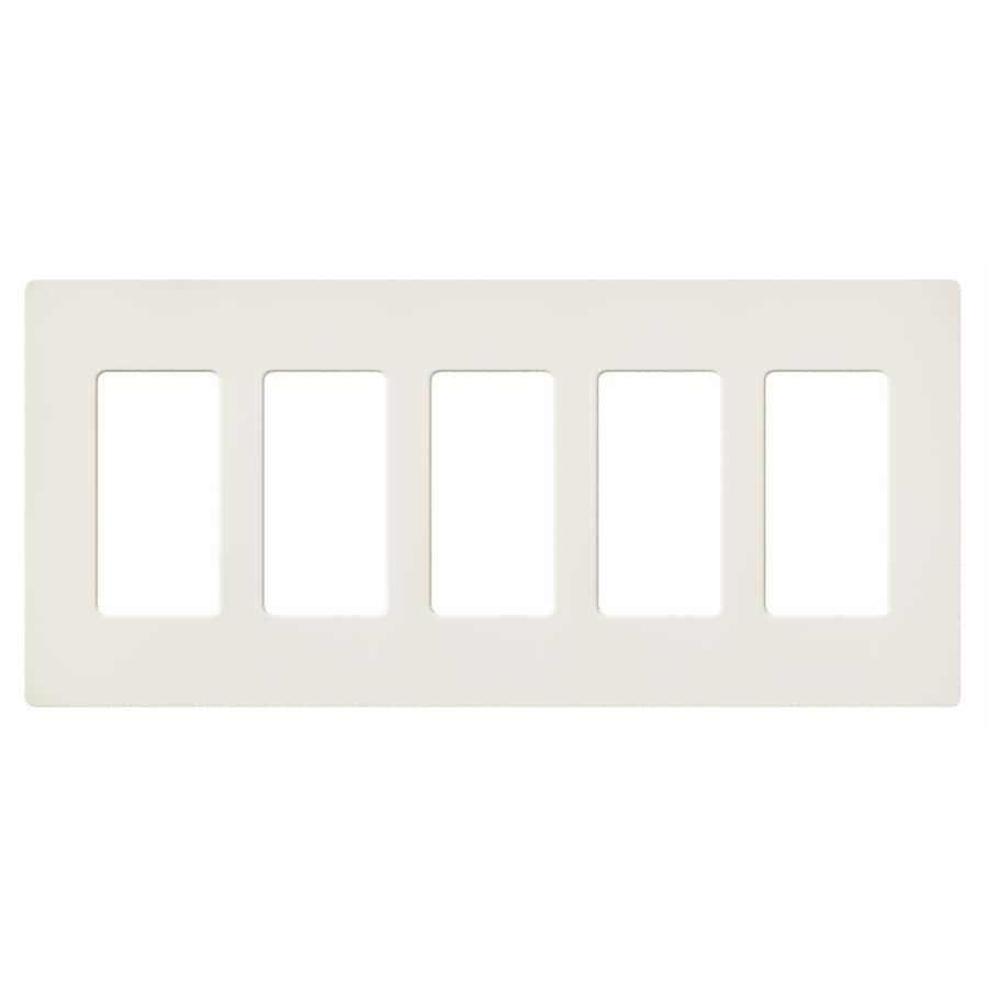 Lutron 5-Gang Biscuit Decorator Rocker Plastic Wall Plate