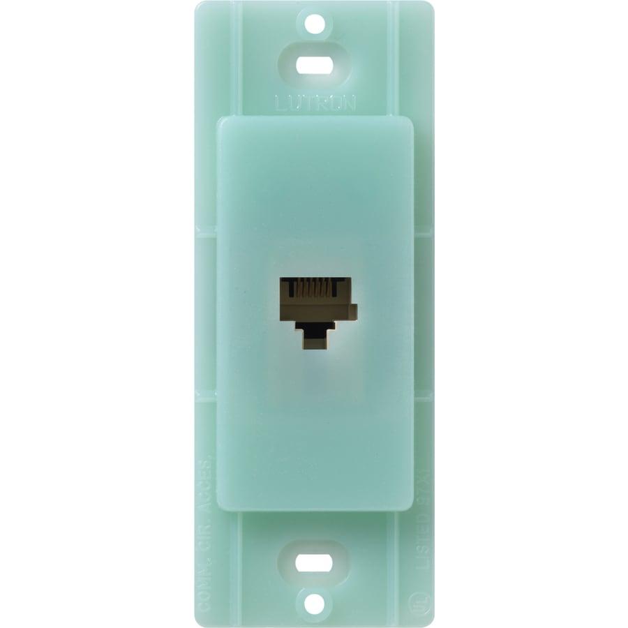 Lutron Claro Satin Color 1-Gang Sea Glass Phone Wall Plate