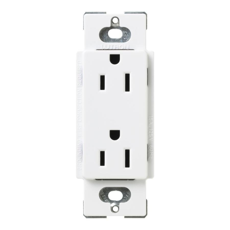 Lutron Claro 15-Amp 120/125-Volt Snow Indoor Decorator Wall Outlet
