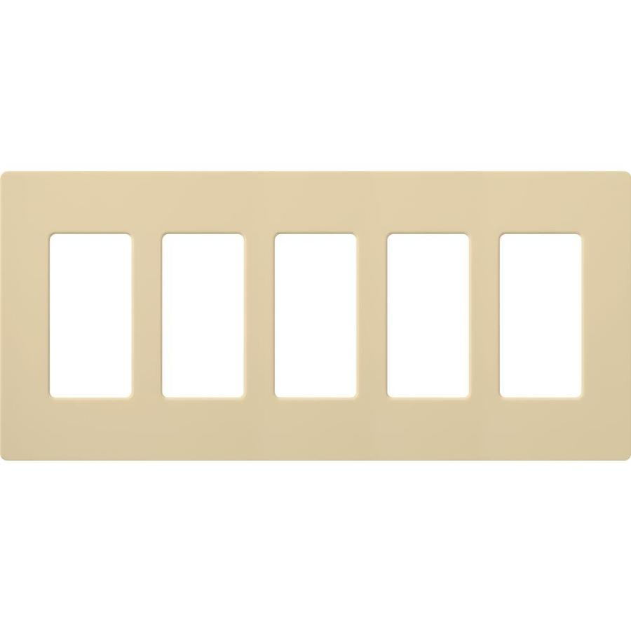 Lutron Claro 5-Gang Ivory Five Decorator Wall Plate