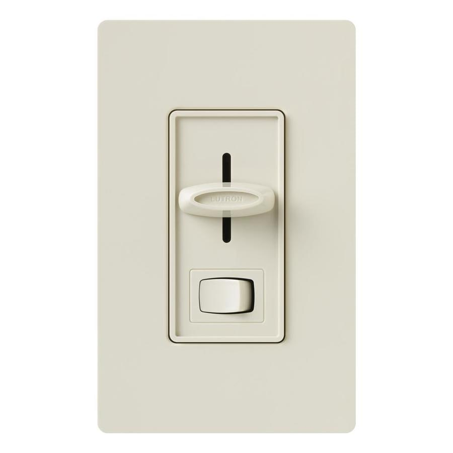 Lutron Skylark 0-Switch 300-Watt Single Pole Light Almond Indoor Slide Combination Dimmer and Fan Control