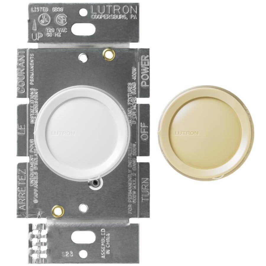 Lutron Rotary 600-Watt Single Pole 3-Way White Indoor Dimmer