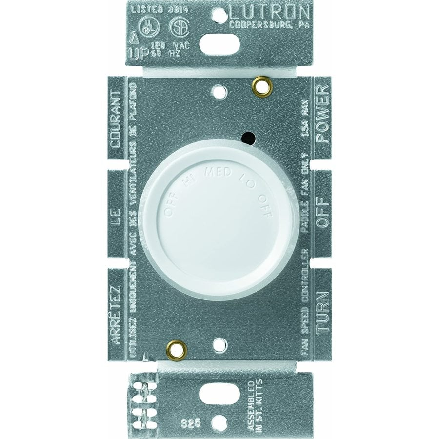 Lutron Rotary 3-Speed 1.5-Amp White Indoor Rotary Fan Control