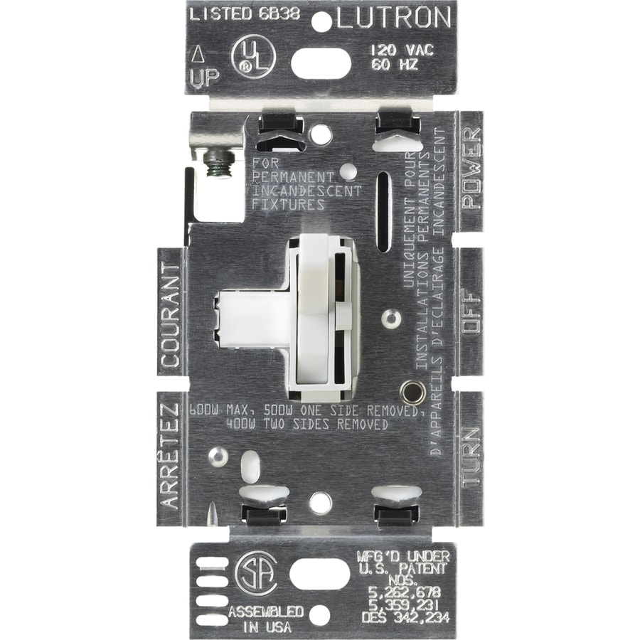 Lutron Toggler 1,000-Watt Single Pole White Indoor Toggle Dimmer