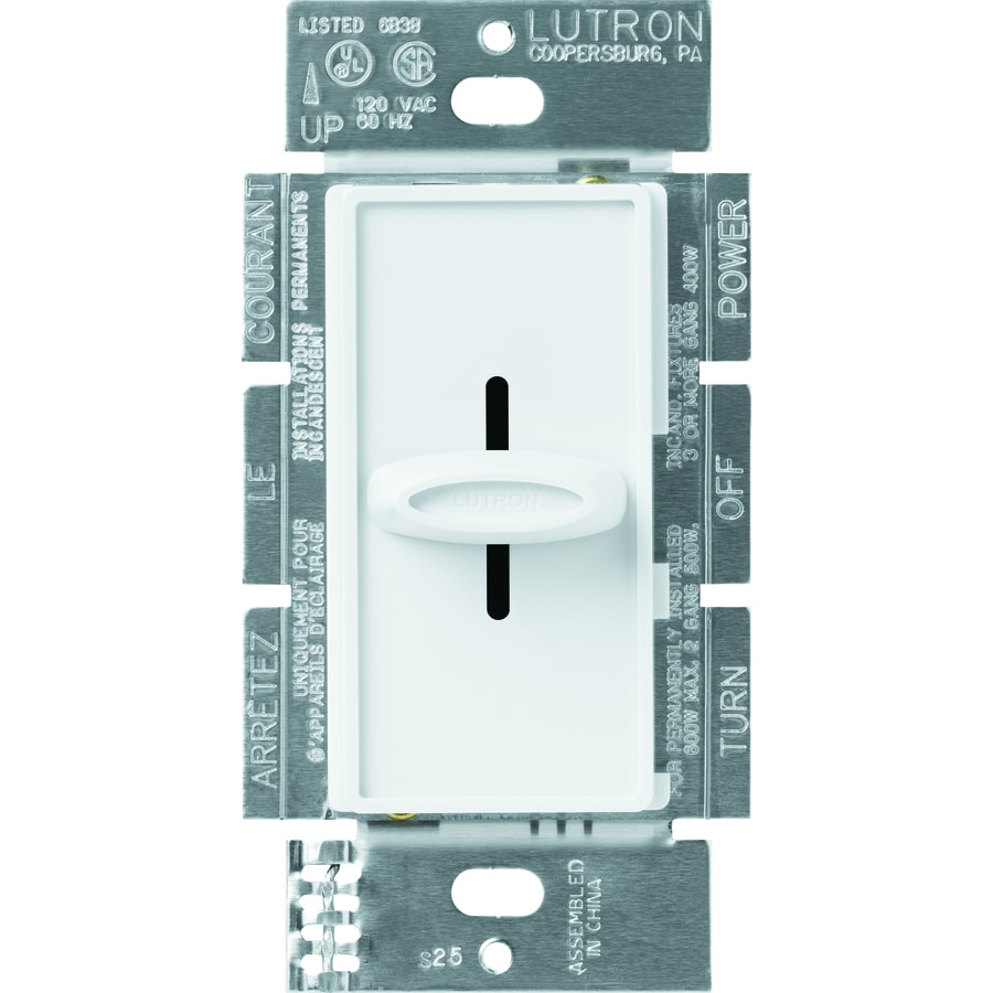 Shop Lutron Skylark 600 Watt Single Pole White Indoor Dimmer At