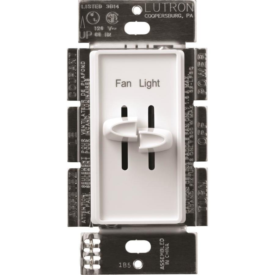 Lutron Skylark 0-Switch 300-Watt Single Pole White Indoor (Control) Combination Dimmer and Fan Control