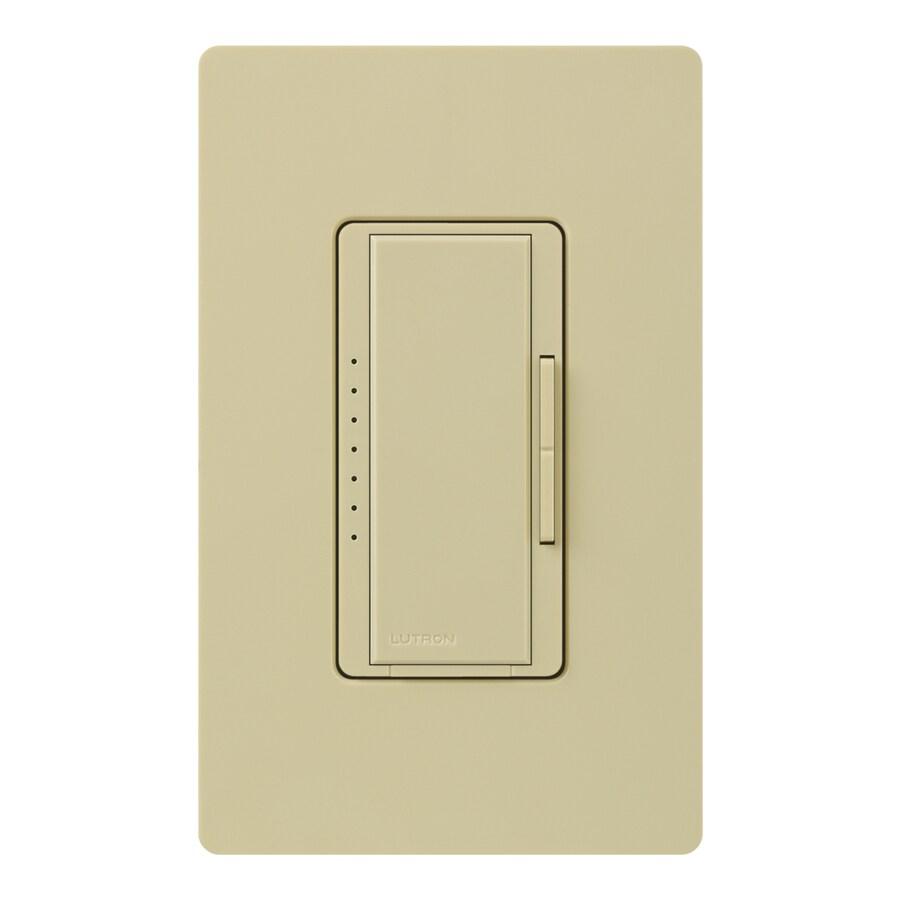 Lutron Maestro 800-Watt Double Pole 3-Way/4-Way Ivory Indoor Tap Dimmer