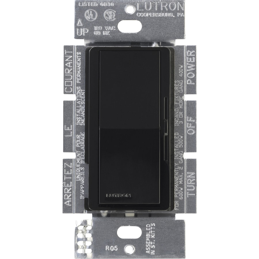 Lutron Diva 1,000-Watt Single Pole 3-Way Switch Black Indoor Dimmer