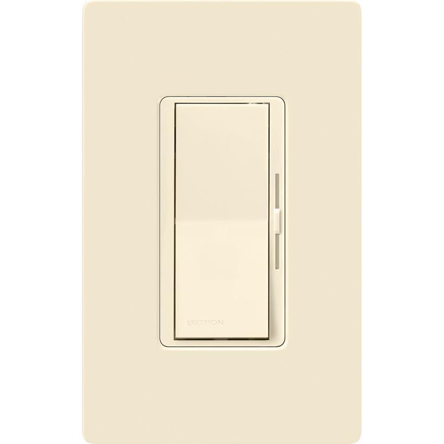 shop lutron diva 600 watt single pole 3 way almond indoor dimmer at. Black Bedroom Furniture Sets. Home Design Ideas