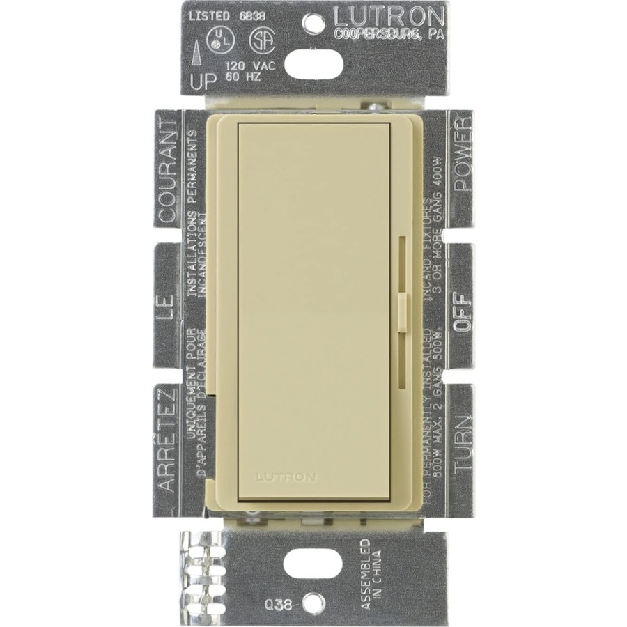 shop lutron diva 450 watt single pole 3 way switch ivory indoor dimmer at low. Black Bedroom Furniture Sets. Home Design Ideas