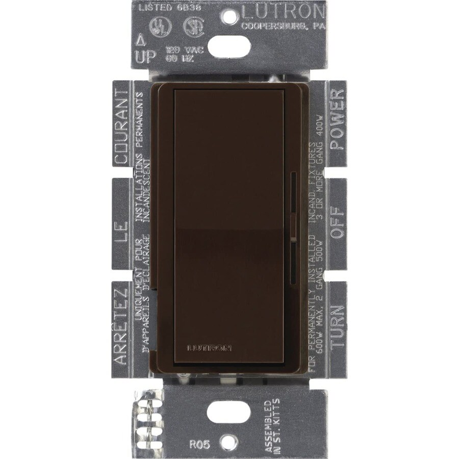 shop lutron diva 450 watt single pole 3 way switch brown indoor dimmer at low. Black Bedroom Furniture Sets. Home Design Ideas
