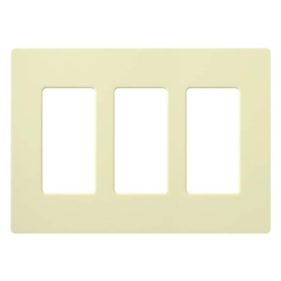 Lutron 3-Gang Almond Decorator Rocker Plastic Wall Plate