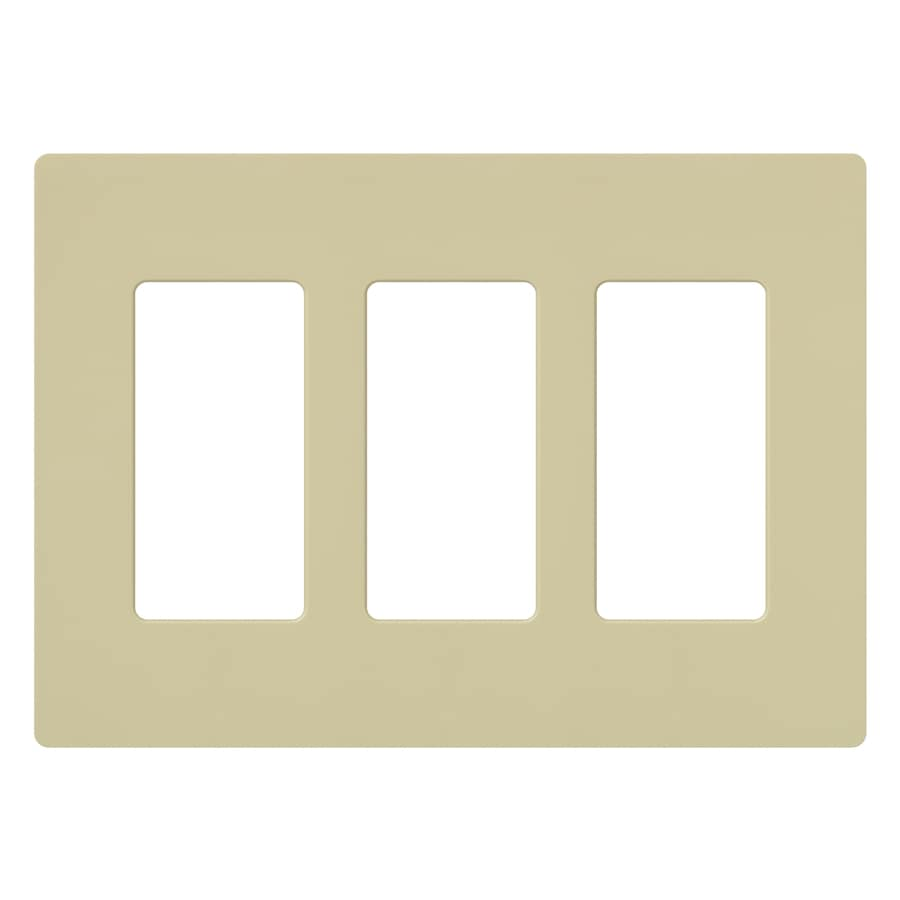 Lutron 3-Gang Ivory Decorator Rocker Plastic Wall Plate