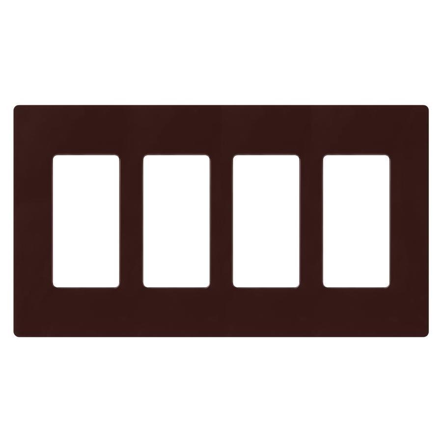 Lutron Claro 4-Gang Brown Quad Decorator Wall Plate