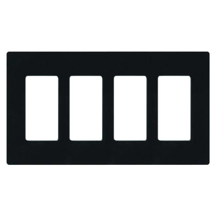 Lutron Claro 4-Gang Black Quad Decorator Wall Plate