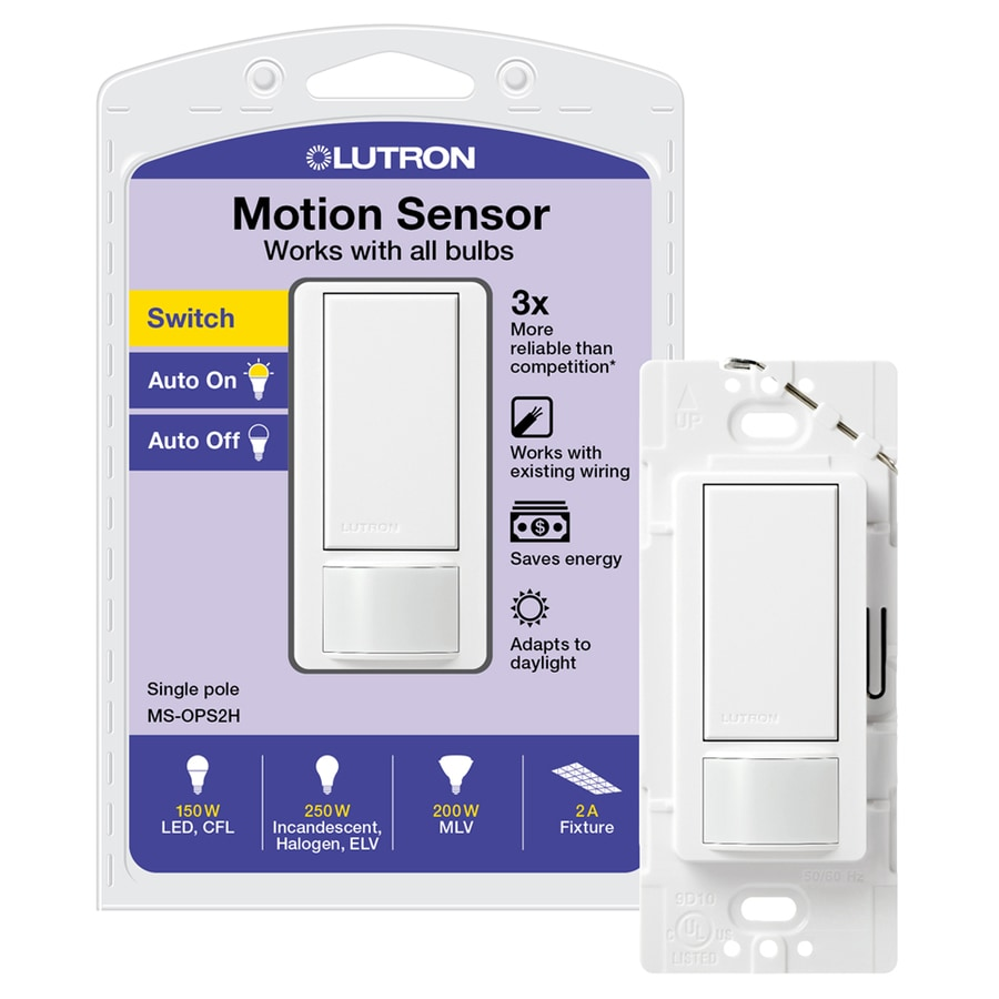 Shop Lutron Maestro Single Pole White Motion Occupancy Vacancy Automatic Light Activated Switch Sensor