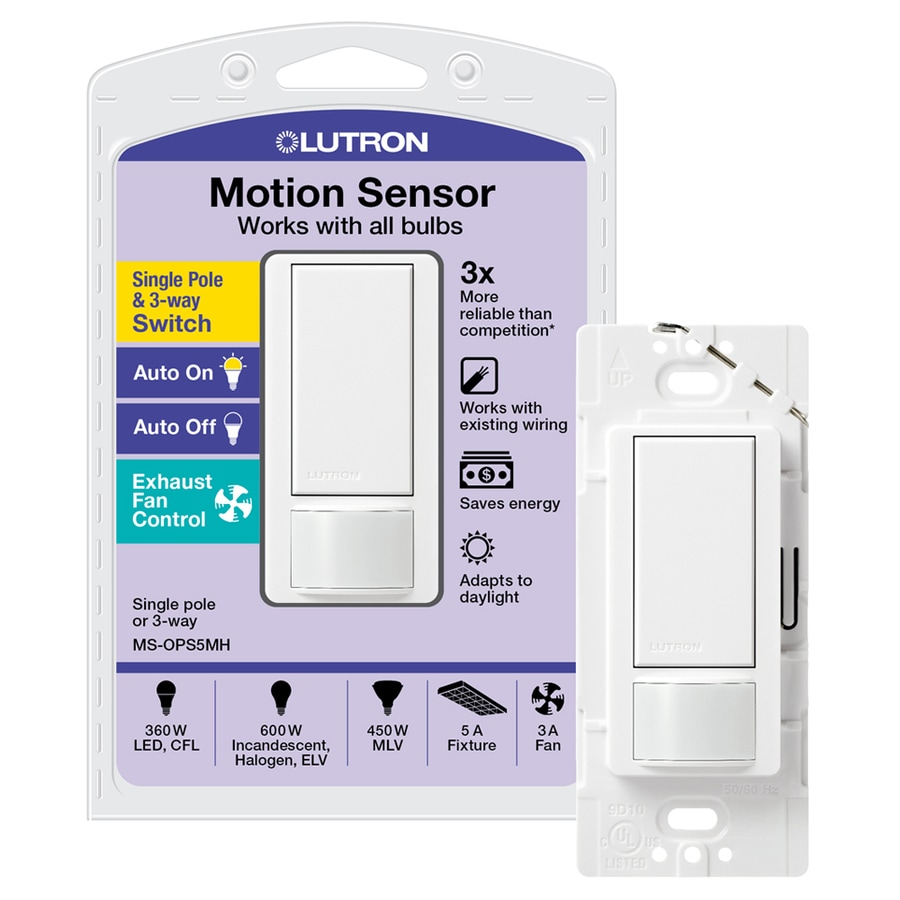 Lutron Maestro 5-Amp Double Pole 3-Way White Indoor Motion Occupancy/Vacancy Sensor