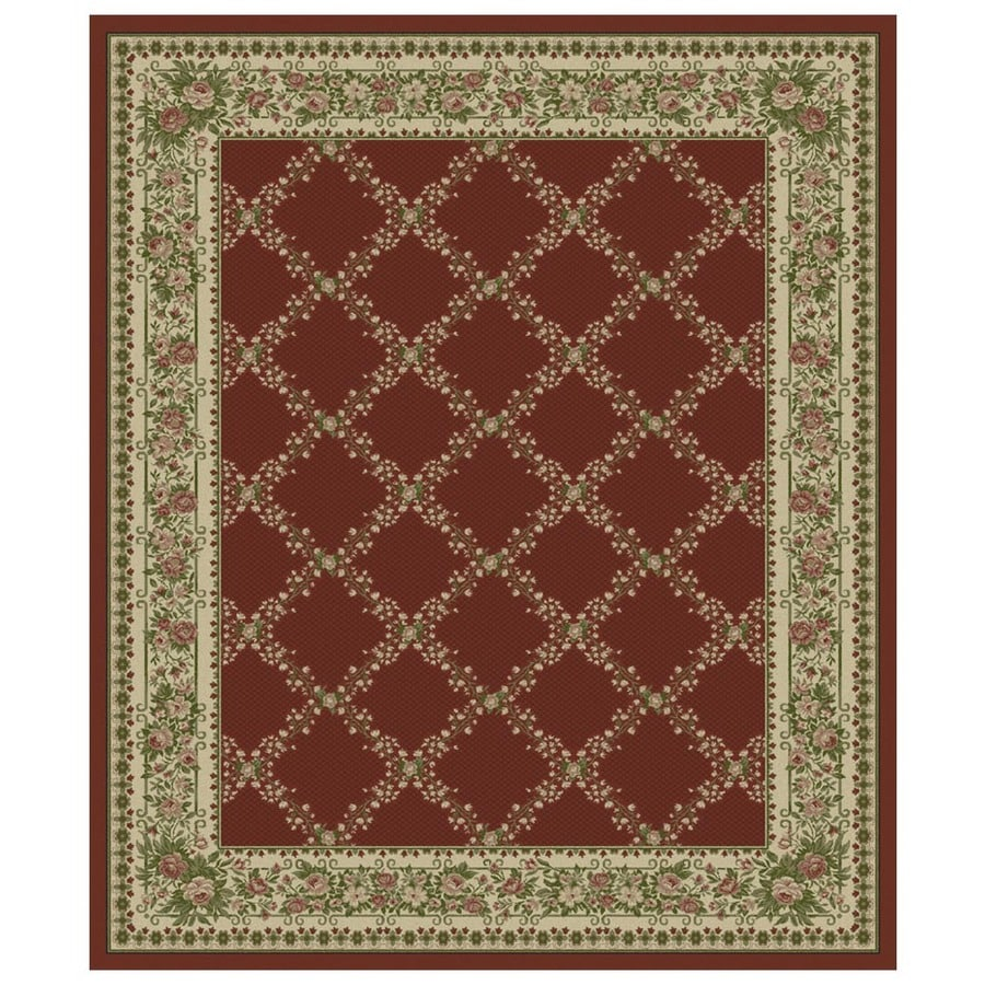 Orian Rugs Kennedy 132-in x 157-in Rectangular Red/Pink Floral Olefin/Polypropylene Area Rug