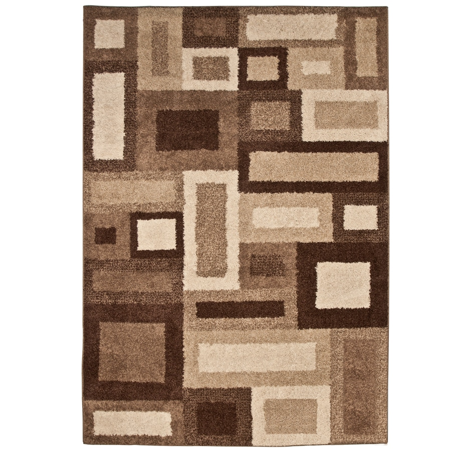 allen + roth City Blocks Cream Rectangular Indoor Machine-Made Area Rug (Common: 5 x 8; Actual: 5.25-ft W x 7.5-ft L)