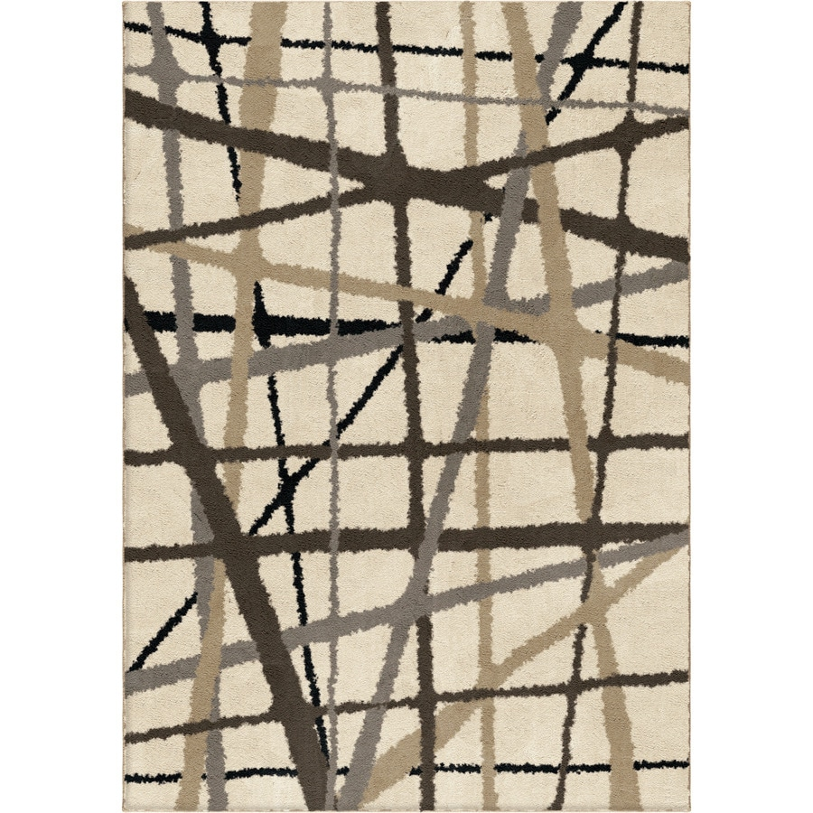Attractive Allen + Roth Yotta Cream Rectangular Indoor Machine Made Area Rug (Common: 5