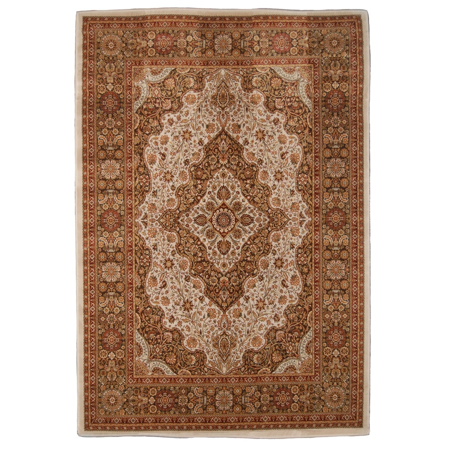 Orian Rugs Medallion Kashan 47-in x 65-in Rectangular Brown/Tan Floral Olefin/Polypropylene Area Rug