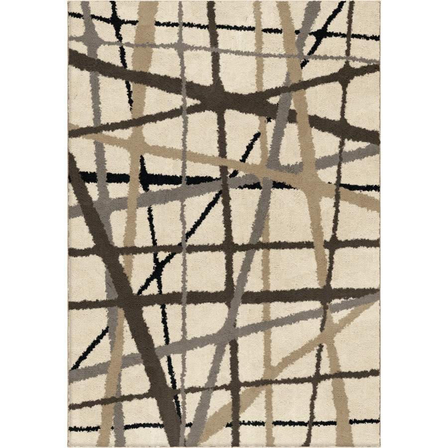 allen + roth Yotta Cream Rectangular Indoor Machine-Made Area Rug (Common: 4 x 6; Actual: 3.92-ft W x 5.42-ft L x 0-ft Dia)