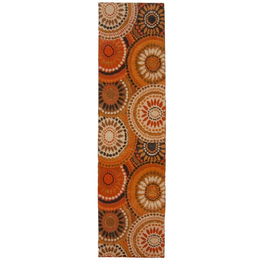 Orian Rugs Merrified Orange Rectangular Indoor Woven Runner (Common: 2 x 8;  Actual: 1.92-ft W x 7.42-ft L x 0-ft Dia)