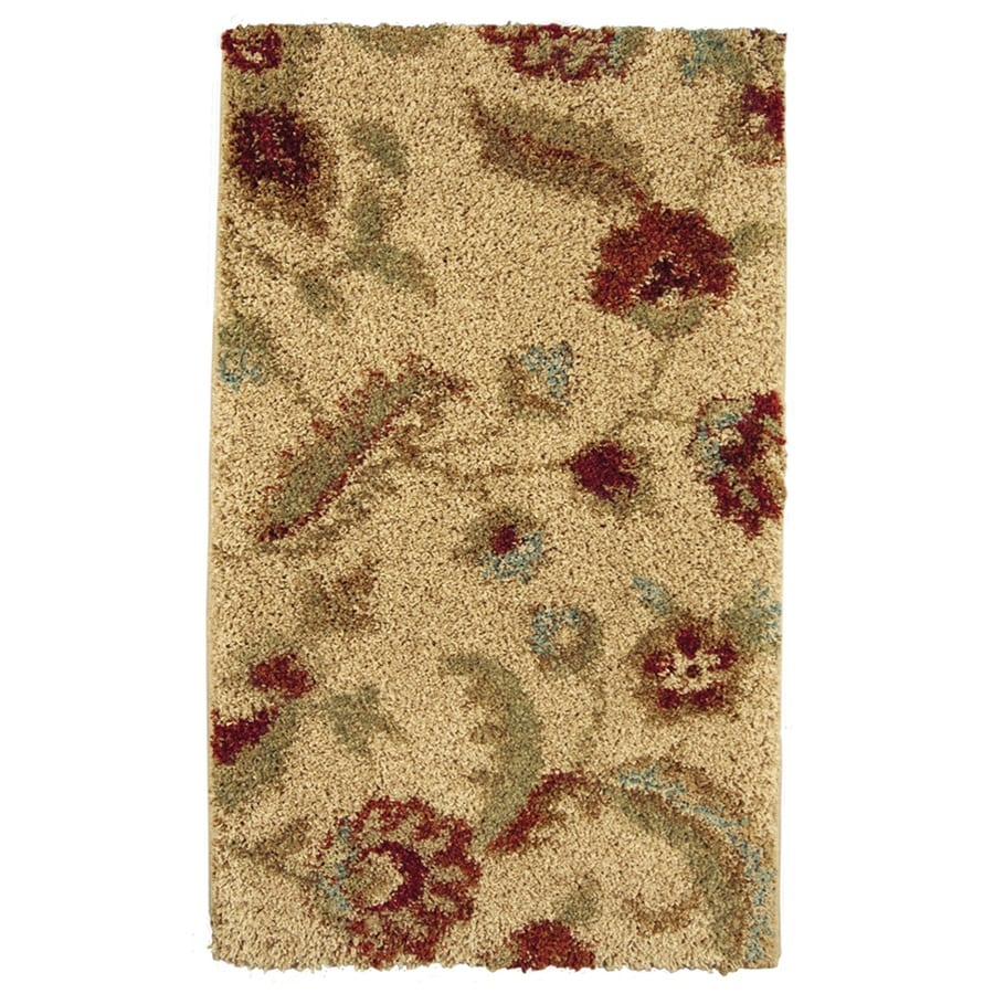 Allen + Roth Cliffony Cream Rectangular Indoor Machine Made Throw Rug  (Common: 2