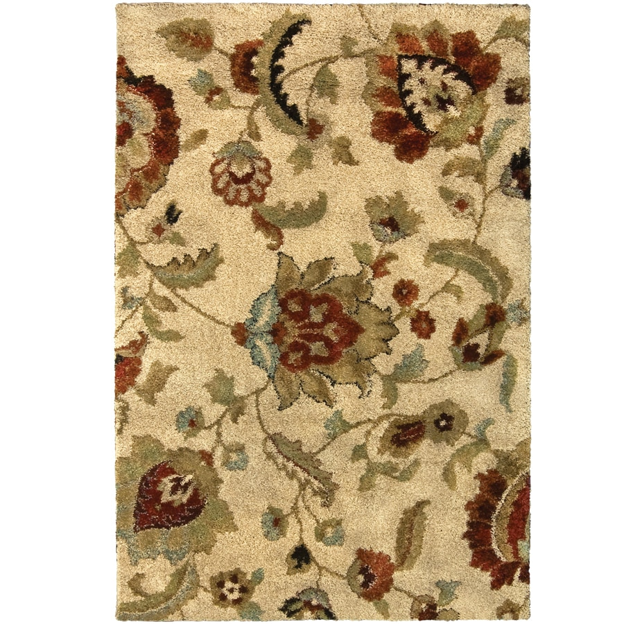 allen + roth Cliffony Cream Rectangular Indoor Machine-Made Area Rug (Common: 4 x 6; Actual: 4-ft W x 5-ft L)