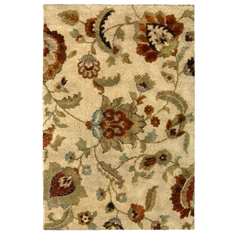 allen + roth Cliffony Cream Rectangular Indoor Machine-Made Area Rug (Common: 5 x 8; Actual: 5-ft W x 8-ft L)