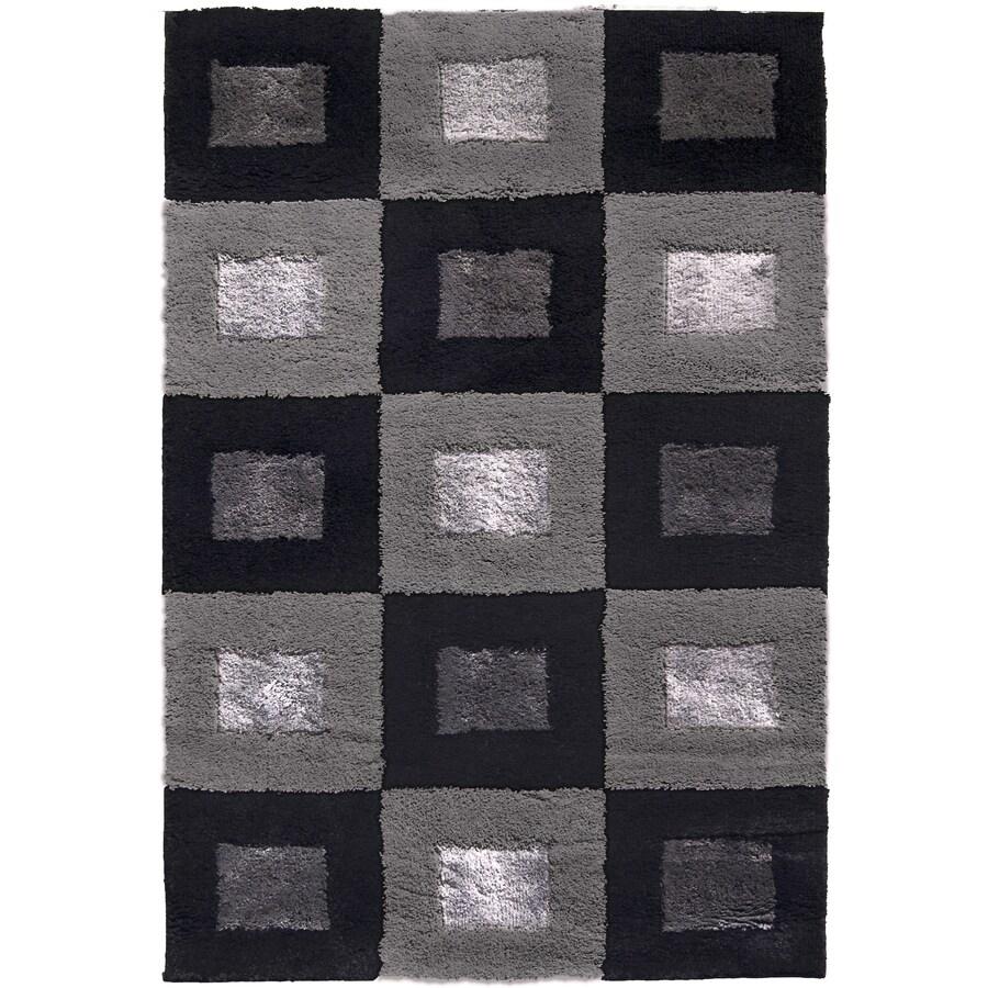 allen + roth Big City 7-ft 10-in x 10-ft Rectangular Black Block Area Rug