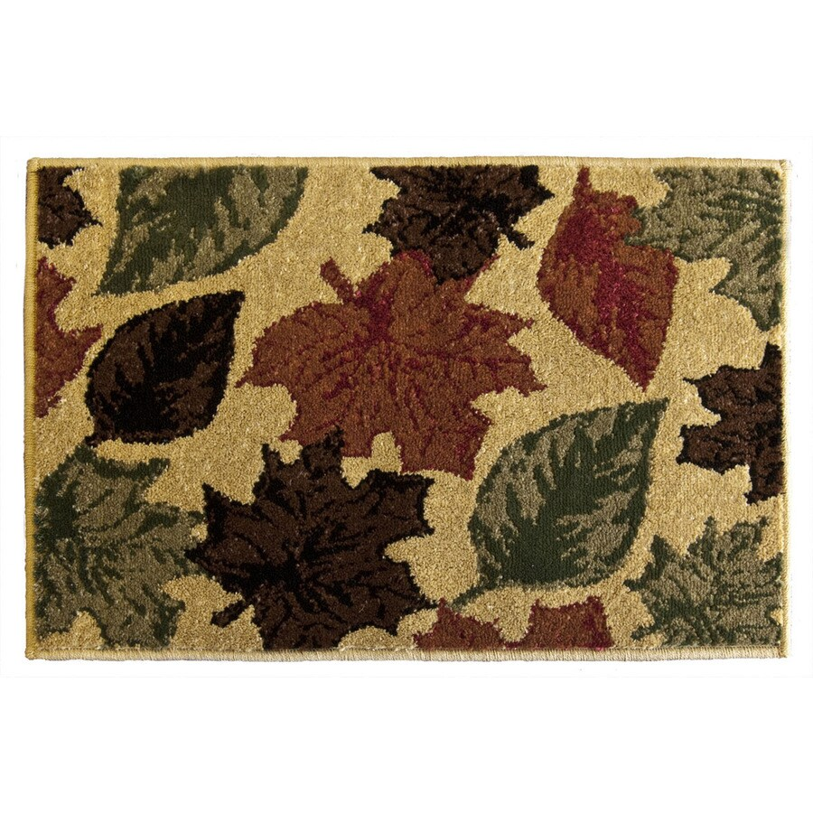 Orian Rugs Stencil Leaves Multicolor Rectangular Indoor Woven Holiday Throw Rug (Common: 2 x 3; Actual: 23-in W x 39-in L)