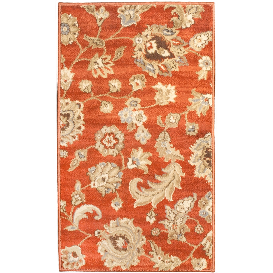 allen + roth Rowley Rectangular Orange Floral Woven Accent Rug (Common: 2-ft x 3-ft; Actual: 23-in x 39-in)