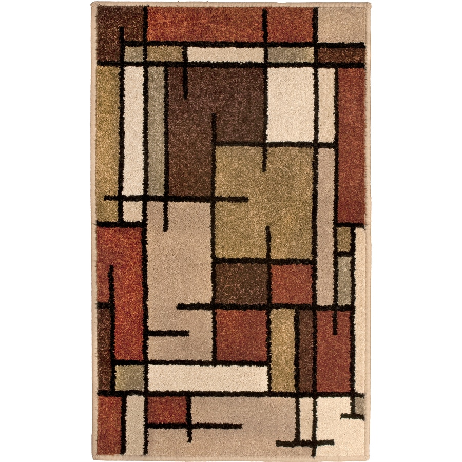 Allen + Roth Addington Brown Rectangular Indoor Machine Made Throw Rug  (Common: 2