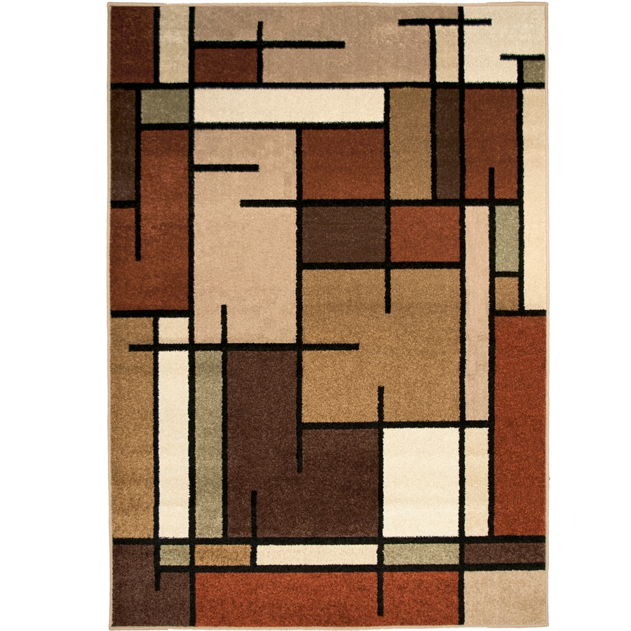 Allen + Roth Addington Brown/Tan Rectangular Indoor Machine Made Area Rug  (Common