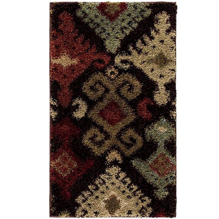 Style Selections Daleo Brown Rectangular Indoor Machine-Made Throw Rug (Common: 2 x 3;  Actual: 1.92-ft W x 3.25-ft L x 0-ft Dia)