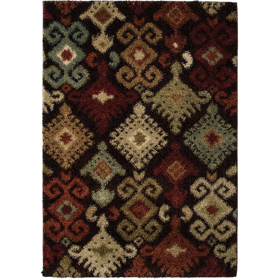 Style Selections Daleo Brown Rectangular Indoor Machine-Made Area Rug (Common: 4 x 6;  Actual: 3.92-ft W x 5.42-ft L x 0-ft Dia)