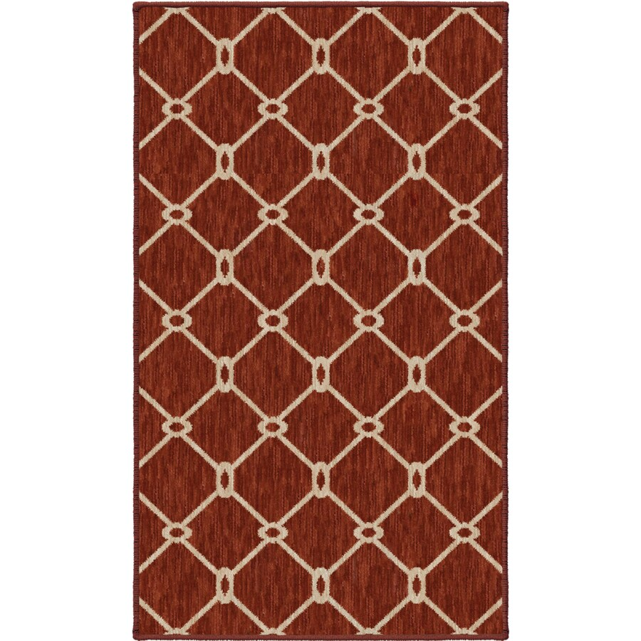 Shop allen roth collingtree red rectangular indoor woven for Common throw rug sizes