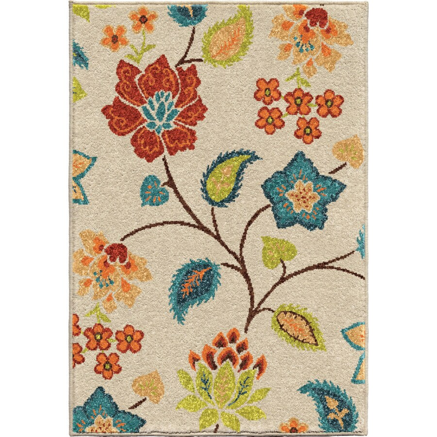 Orian Rugs Garden Chintz Ivory Rectangular Indoor/Outdoor Machine-made Nature Throw Rug (Common: 3 x 5; Actual: 2.42-ft W x 3.75-ft L)