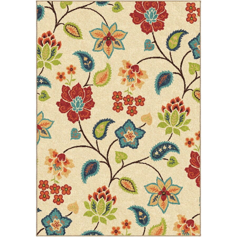 Orian Rugs Garden Chintz Ivory Rectangular Indoor/Outdoor Machine-made Nature Area Rug (Common: 7 x 10; Actual: 6.42-ft W x 9.67-ft L)