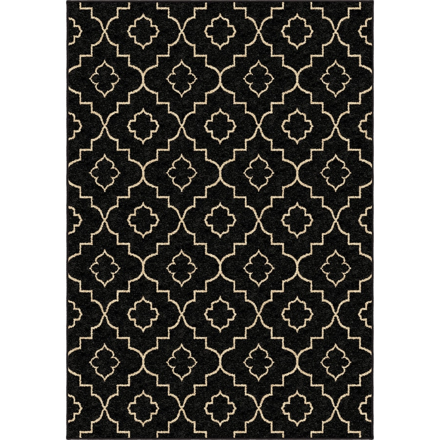 Style Selections Trennmar Black Rectangular Indoor Machine-Made Area Rug (Common: 5 x 8; Actual: 5.25-ft W x 7.5-ft L)