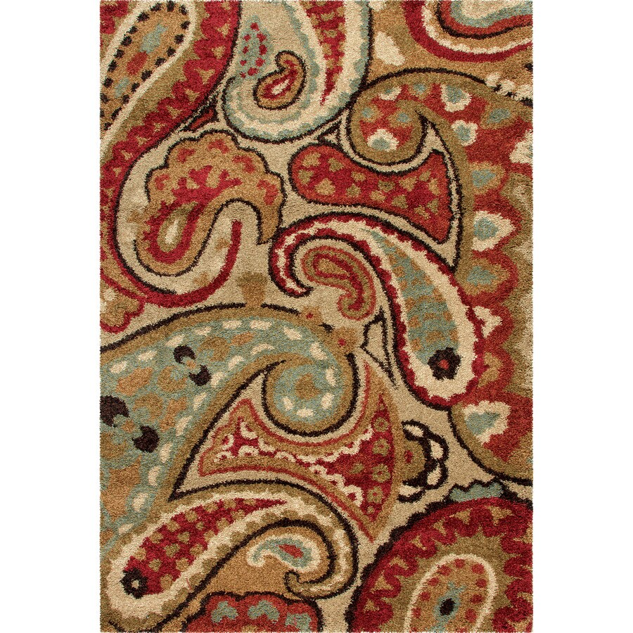 Orian Rugs Lazio Red Rectangular Indoor Machine-made Oriental Area Rug (Common: 5 x 8; Actual: 5.25-ft W x 7.5-ft L)