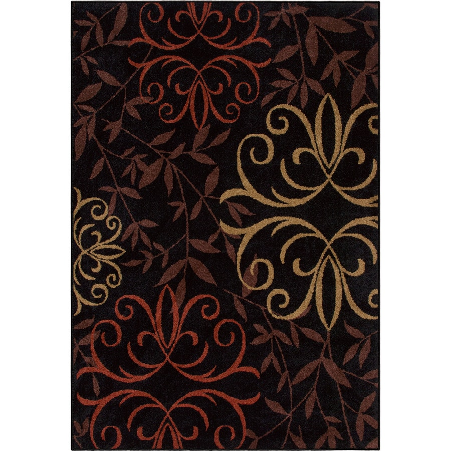 Orian Rugs Fleur Medalln Black Indoor/Outdoor Oriental Area Rug (Common: 8 x 11; Actual: 7.67-ft W x 10.83-ft L)