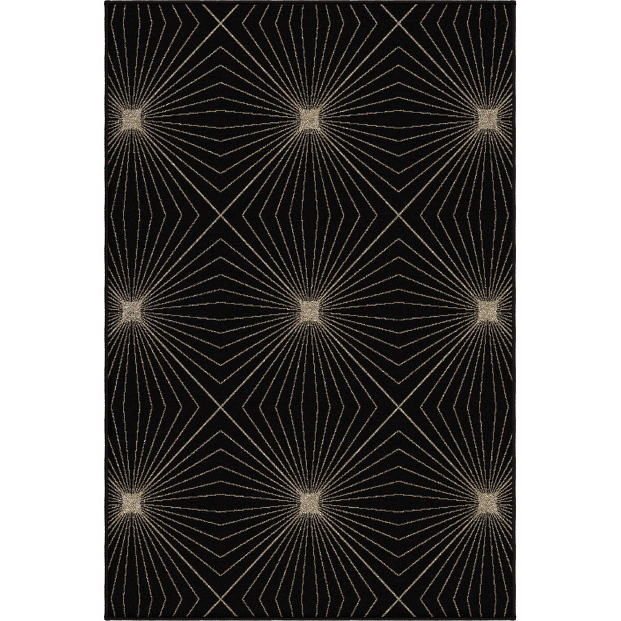 Orian Rugs Illusion Black Rectangular Indoor Machine-made Novelty Area Rug (Common: 5 x 8; Actual: 5.25-ft W x 7.5-ft L)