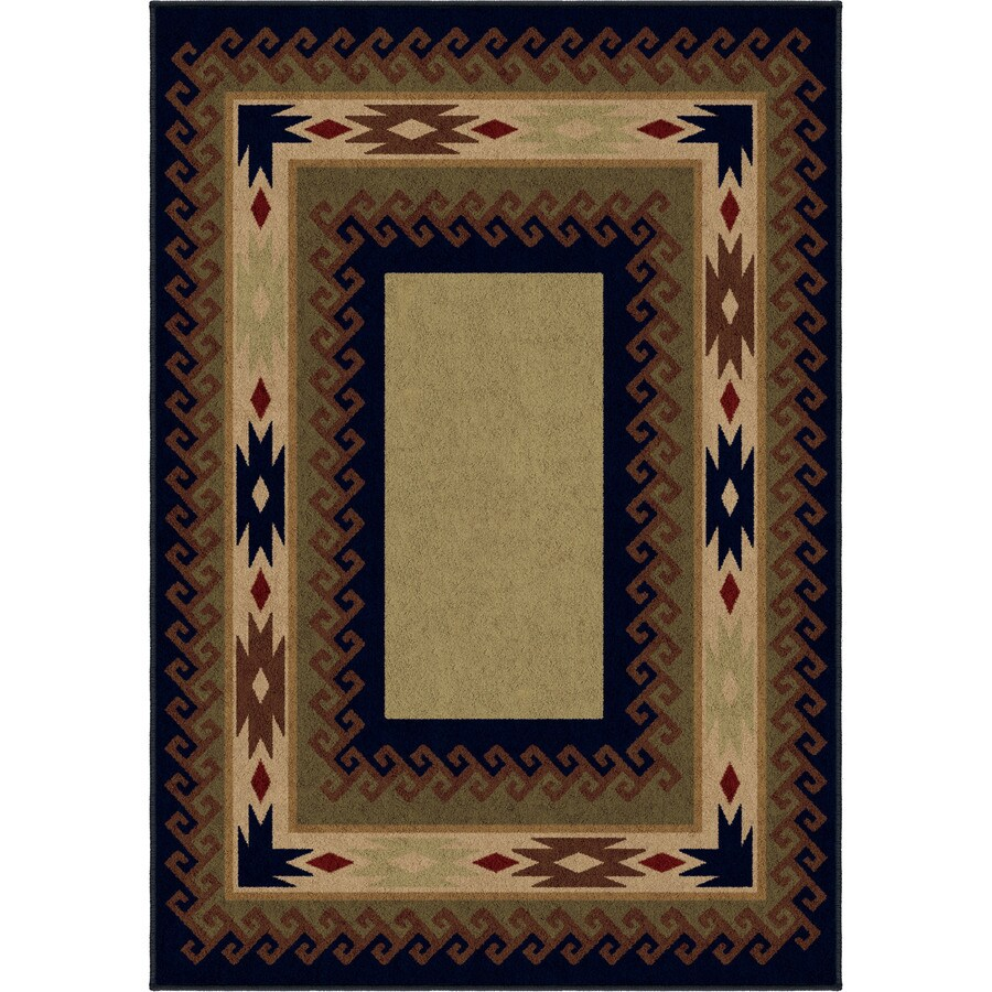 Orian Rugs San Angelo Green Rectangular Indoor Machine-made Lodge Area Rug (Common: 5 x 8; Actual: 5.25-ft W x 7.5-ft L)