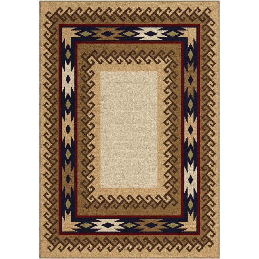 Orian Rugs San Angelo Beige Rectangular Indoor Machine-made Lodge Area Rug (Common: 8 x 11; Actual: 7.83-ft W x 10.83-ft L)